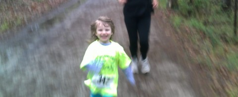 Nina kicking (my) ass at her first 5k